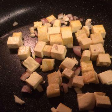 Homemade tofu with onions and garlic.