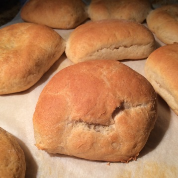 Fresh hamburger buns straight from the oven!