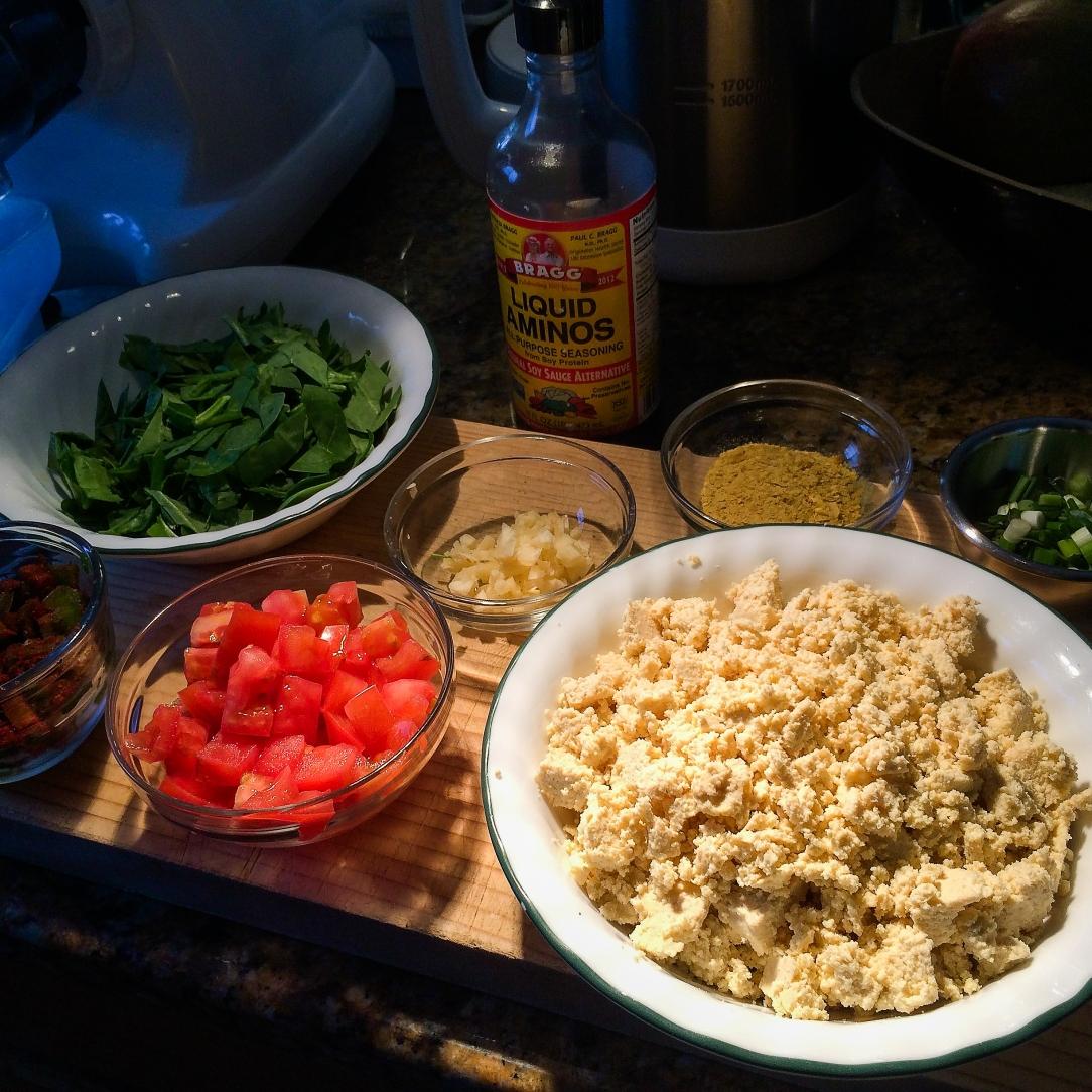 Making Tuscan Tofu Scramble!
