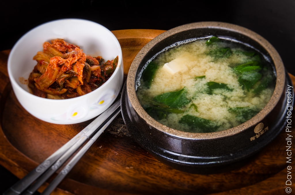 Tofu and Spinach Miso Soup with Kimchi.