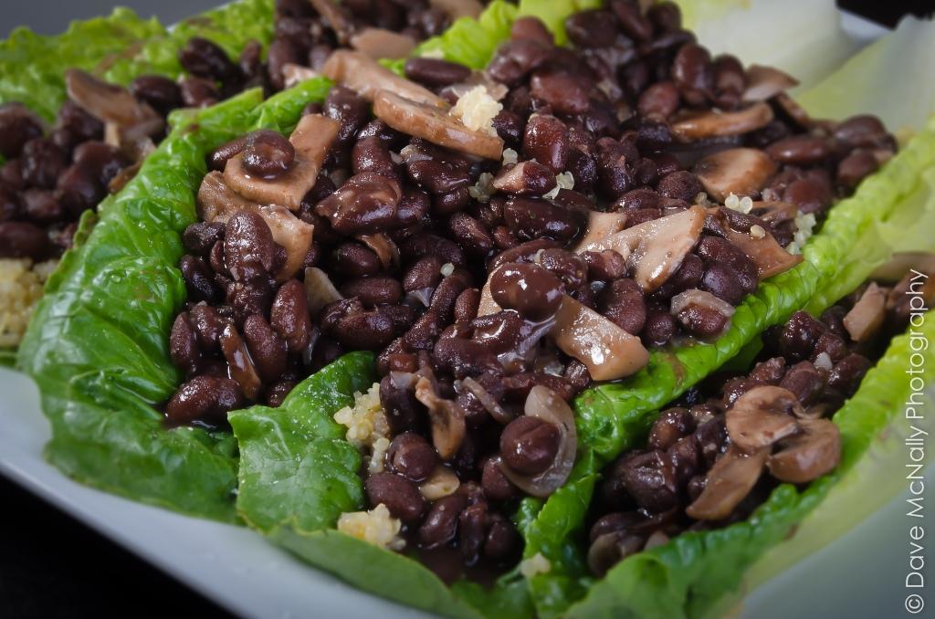Black beans on Romaine