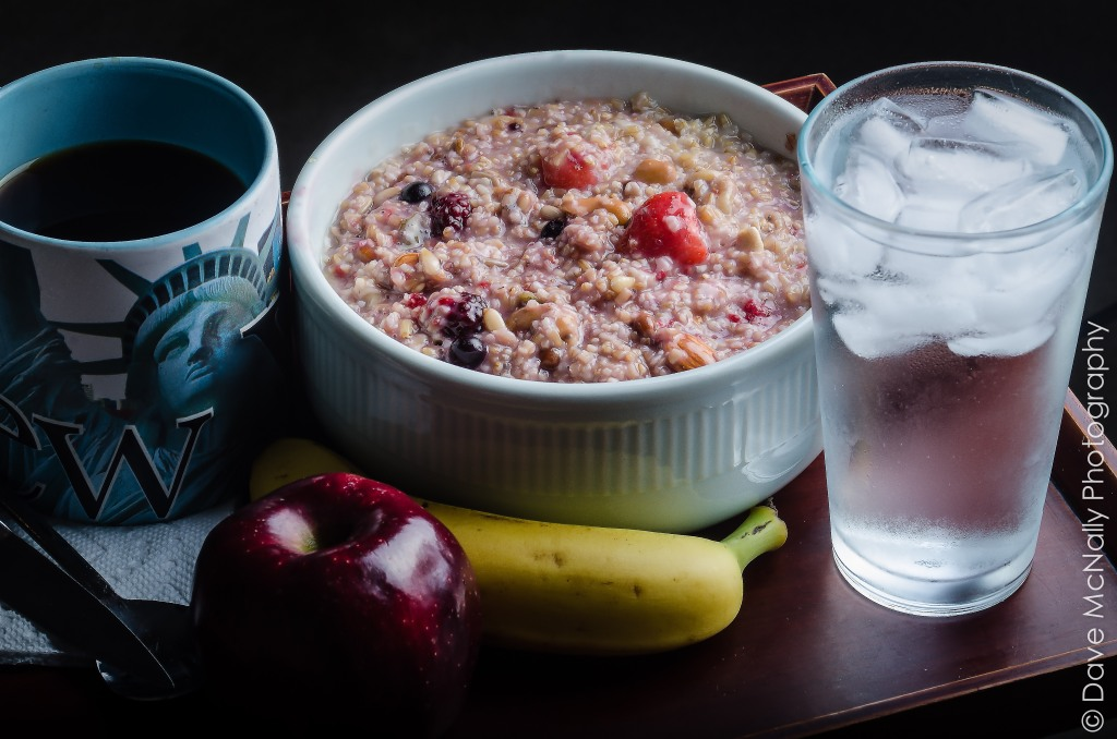 Perfect Breakfast: Oatmeal with fruit, berries, nuts and seeds.
