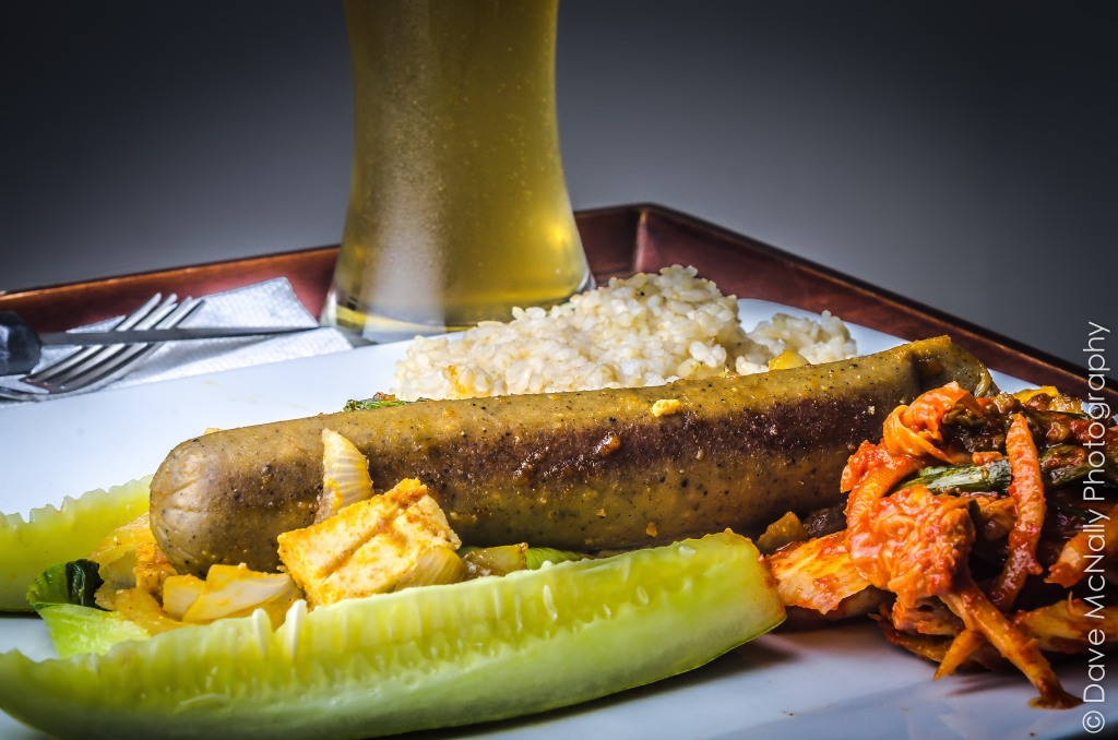 Vegan Beer Brat with kimchi, brown rice and homemade dill pickles!