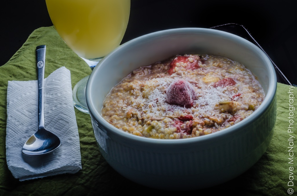 Strawberry and Banana Steel-cut Oatmeal!