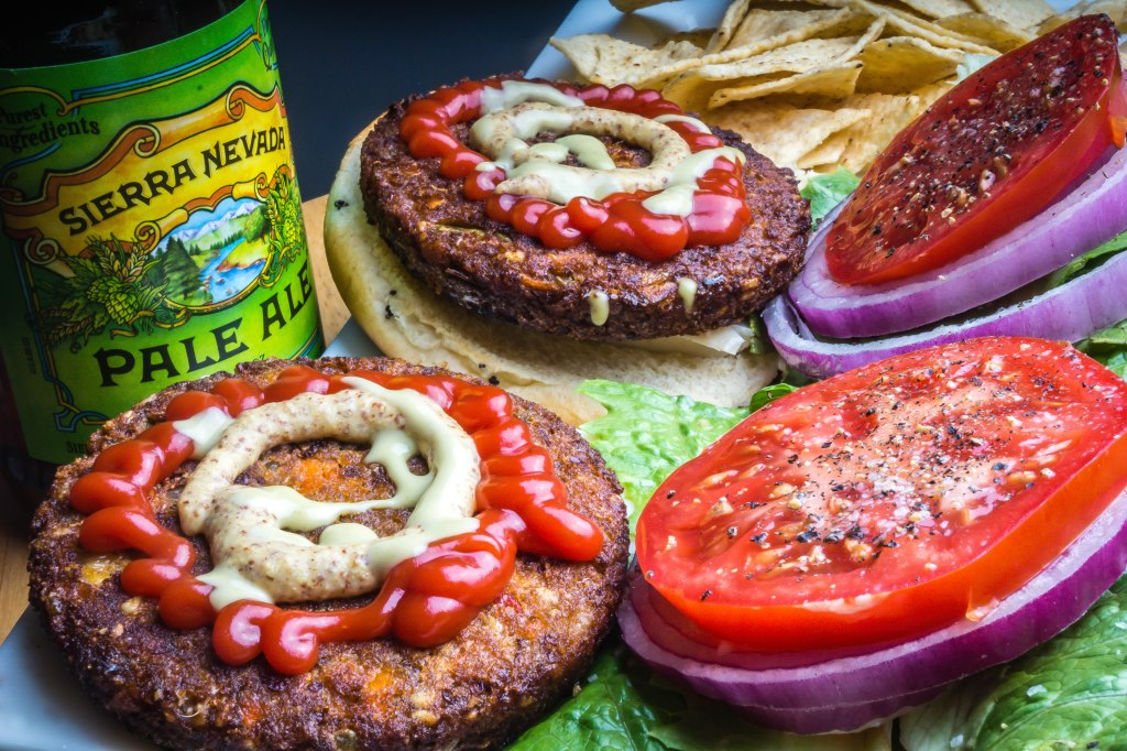 Morning Star Veggie Burgers and Beer!
