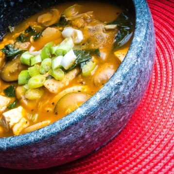 Spicy Vegan Soup with Kimchi