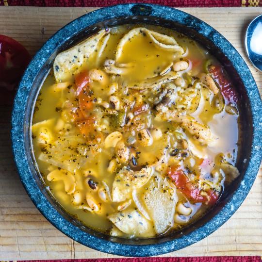 Vegan Soup: Black-eyed peas, tomato, cashew, onion, garlic, oil, peppers, radish and more!